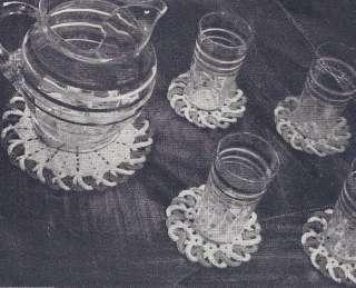 Vintage Crochet Pattern Glass Drink Coaster Set Lg Sm