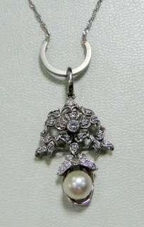 vintage Platinum white gold diamond pendant necklace jewelry
