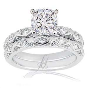 1.70 Ct Cushion Cut Diamond Cris Cross Engagement Wedding Rings