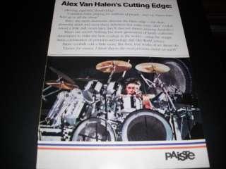 Paiste Drum Cymbals   Alex Van Halen 1985 Print Ad