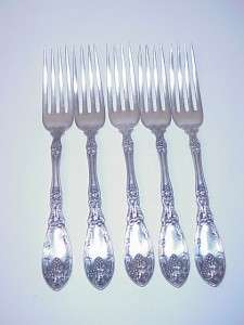 ANTIQUE ROGERS SILVER PLATE LA VIGNE DINNER FORKS SET 5 C. 1908