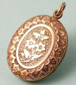 ANTIQUE VICTORIAN ROSE GOLD FRONTED, ENGRAVED LOCKET PENDANT