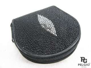 PELGIO New Genuine Stingray Skin Leather Zip Coin Purse Wallet Black