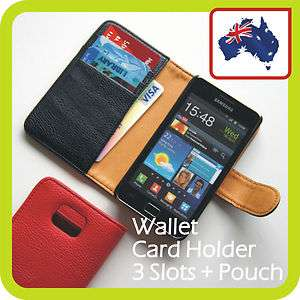 SAMSUNG Galaxy S2 LEATHER WALLET CARD HOLDER FLIP Case Cover