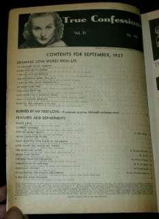 TRUE CONFESSIONS Magazine September 1937 Issue