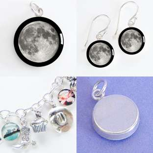 PLANET THE MOON Sterling Silver Charm Pendant