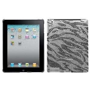 For Apple ipad 2 Black Zebra Skin Diamante Back Protector Cover case