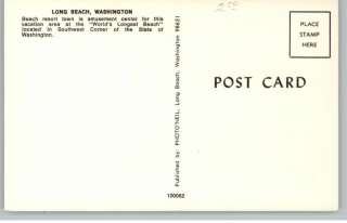 Long Beach WA Street Scene Postcard