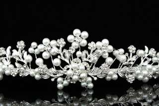 Bridal Wedding Rhinestone Crystal Faux Pearl Flower Prom Crown Tiara