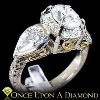 Platinum & 18K Gold 2.16ctw E SI Oval & Pear Cut Diamond 3 Stone