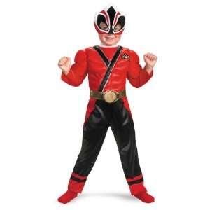 Samurai Red Ranger Toddler Boys Muscle Costume Size 4 6 Toys & Games