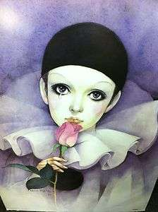 Vintage Poster Print Porcelain Pierrot Clown Doll 27 x 40 RARE 1981
