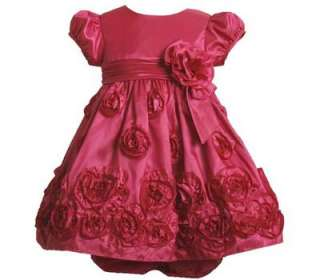 Jean Baby Girls Fuschia Taffeta Rose Wedding Holiday Dress 18M