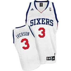 Philadelphia 76ers #3 Allen Iverson White Jersey:  Sports