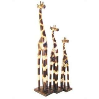 Set 100cm + 80cm +60cm wooden wood Girafe Giraffe Carved Handmade