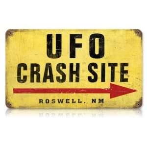 UFO Crash Site Aviation Vintage Metal Sign   Garage Art Signs