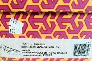 Tory Burch Black Leather Reva Ballet Flats 6   Silver Hardware