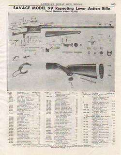 1954 SAVAGE MODEL 99 RIFLE PARTS LIST Info Ad