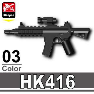 Black Assault Rifle HK416 gun weapon compatible w/ minifigs Custom