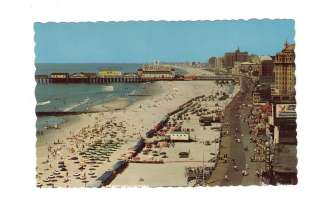 Vintage Postcard Atlantic City New Jersey Beach & Boardwalk Pier