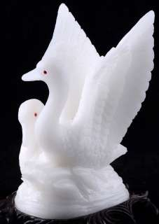 Natural White Stone SWAN Couple Sculpture/Carving #Q75,cute animal