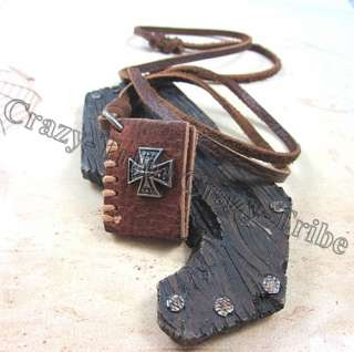 Cross Bible Book pendant Men charm Genuine leather necklace ancientry