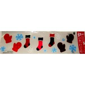 Holiday Stockings Mittens Snowflakes Gel Window Clings