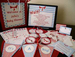 ULTIMATE DR SEUSS CAT IN THE HAT BABY SHOWER PARTY PACK COMPLETELY