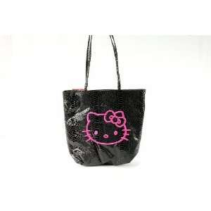 Sanrio Hello Kitty Black Snake Python Tote Bag