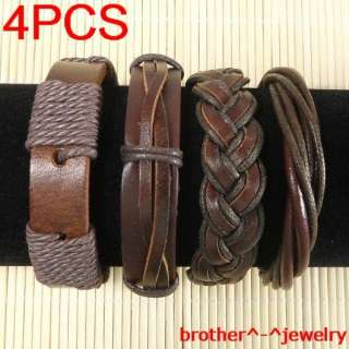 Wholesale lots ethnic tribal 4pcs genuine leather bracelet B32