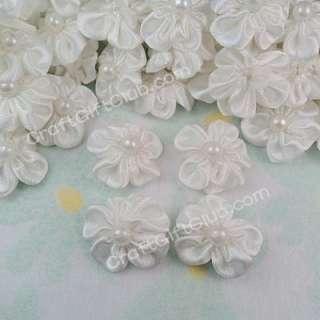 100 White Satin Flower Pearl Bead Applique Gift Wedding