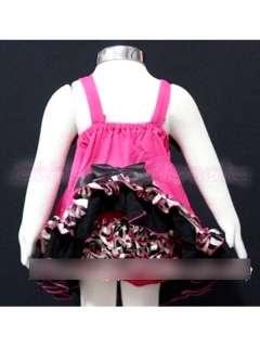 Baby Girl Bow Zebra Stripe Ruffle Top Dress Pants Bloomers Set Nappy