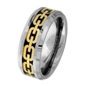 8mm Carbon Fiber and Gold Tone Chain Link Inlay Cobalt Free Tungsten