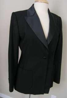 Tommy Hilfiger Peak Lapel Tuxedo Blazer Black 4 Wool Blend Perfect