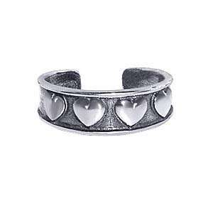 .925 Sterling Silver Heart Toe Ring Antique Finish Toering Jewelry
