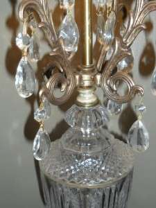 Victorian Elegant Crystal Hollywood Regency Lamp with Tear Drop Prisms