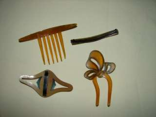 CELLULOID/BAKELITE HAIR COMB/BARRETTS RHINESTONES TRIBAL