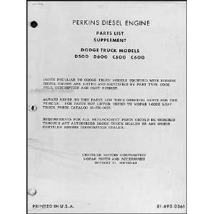 Dodge Perkins Diesel Engine Parts List Original Supplement Dodge
