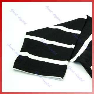 Women Stripe Off Shoulder Long Top Batty Tshirt Dress B