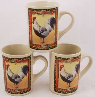 Rooster Fruit Tall Coffee Mugs Bay Island 4 inches tall Excellent