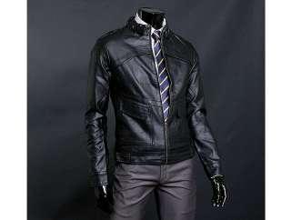 Simple Design Black Mens Rider Leather Jacket US Size S