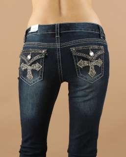 Dazzling Crystal Cross Flap Back Pocket Dark Blue Bootcut Jean