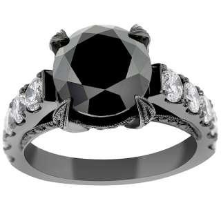 Diamond Engagement Ring Vintage Style 14K Black Gold DD BDR 053