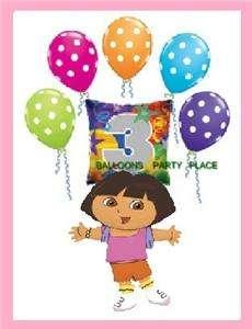 DORA THE EXPLORER 3rd birthday polka dot balloons PARTY