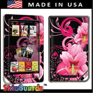 Pink Flower Vinyl Case Decal Skin To Cover  Nook Color
