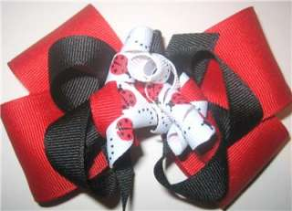 Ladybug Boutique Hair Bow Korker Red Black Girls Baby