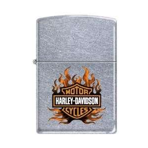 Zippo Harley Davidson Logo in Flames Street Chrome