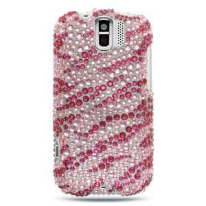 HOT PINK ZEBRA Hard Plastic Rhinestones Bling Design Case