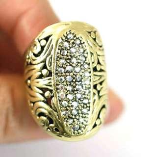 Carved Tone Bronze Copper Diamante CZ Ring Fashion Jewelry