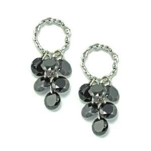 White Gold Plated Twisted Hoop with Clustered Black CZ Grapes Earrings
